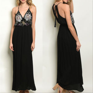 Dresses & Skirts - BLACK SEQUIN AND EMBROIDERED MAXI DRESS